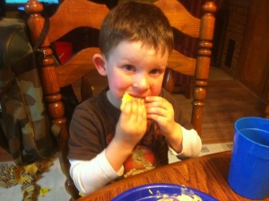 Josiah enjoying his taquito.