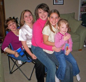Thanksgiving at Aunt Angela's. There's my Aunt Angela, me, my cousin Amanda, my sister Rachel and Amanda's daughter Maddison.