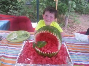 "The ""cake"" Josiah got at the lake. He wanted watermelon shaped like a shark."