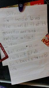 Josiah wrote his memory verse to practice his penmanship.